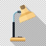 Table lamp icon in flat style on transparent background. Table lamp icon in flat style with long shadow on transparent background vector illustration