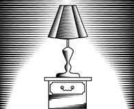Table lamp, image in linear and engraving Royalty Free Stock Photos