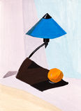 Table lamp and orange Stock Images