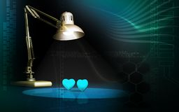 Table lamp watching two hearts Stock Photography
