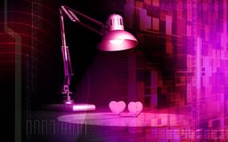 Table lamp watching two hearts Royalty Free Stock Photo