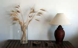 Table lamp and wheat Royalty Free Stock Photos