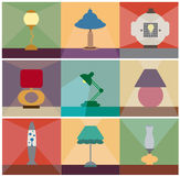 Table lamps vector set. Reading lamps, desk lams, table lamps vector set stock illustration