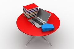 Table with laptop , messages and books Stock Photography