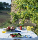 Table layed outdoors. Food , drinks, beverages,cookery Stock Photo