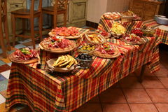 Table layout example. Italian food Stock Photo