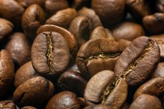 roasted coffee beans, close-up. stock image