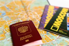 Moscow map. passport. guides Stock Photos