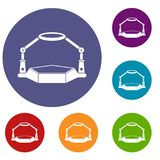 Table magnify icons set. In flat circle red, blue and green color for web Stock Photo