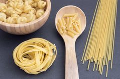 table with many types of Italian pasta royalty free stock image