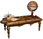 Table with maps and telescopes. 3D render of fantasy table with maps and telescopes vector illustration