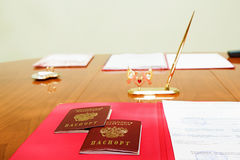 Table of marriage registration Royalty Free Stock Image