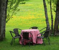 Table in meadow by trees ready for a picnic Stock Photo