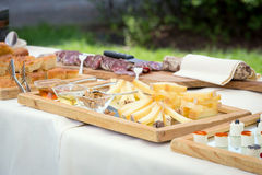 Table of meat and cheese Royalty Free Stock Photography