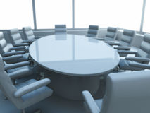 Table in meeting room. Round table surrounded by empty chairs in business meeting room, windows in background Stock Images