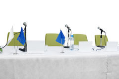 Table and microfones Royalty Free Stock Images