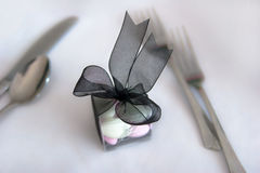 Table mints. Small container of mints on table at wedding place setting Royalty Free Stock Photo