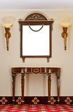 Table and mirror. Antique dressing table and mirror Royalty Free Stock Photos