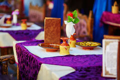 Table in Moroccan street restaurant Stock Photography