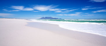 Table Mountain. Beautiful landscape of Table Mountain taken from the white sandy beach off Blaauberg Stock Image