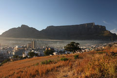 Table Mountain. Early morning view of Cape Town and Table Mountain Royalty Free Stock Photo