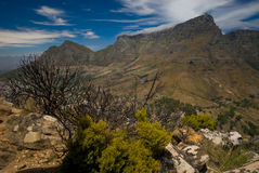 Table Mountain. View of Table Mountain as seen from the summit of Lion`s Head, Cape Town, South Africa Stock Photo