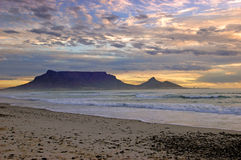 Table Mountain. In Cape Town at sunset royalty free stock images