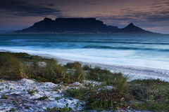 Table Mountain. From Milnerton beach with grass in the foreground Stock Images