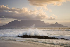 Table mountain behind wave Stock Photo