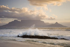 Table mountain behind wave Royalty Free Stock Photo
