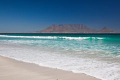 Table Mountain from Bloubergstrand Beach in Cape T Royalty Free Stock Photography