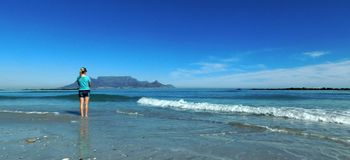 Table Mountain from Blue Berg Beach. A landscape view of Table Mountain as seen from Blue Berg Beach. Blue sea and shore in foreground, three silver gulls and Stock Image