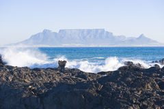 Table mountain Cape Town. Table Mountain - the world famous landmark in Cape Town, South Africa. Picture taken on a clear Winters day from the Blouberg Strand Royalty Free Stock Images