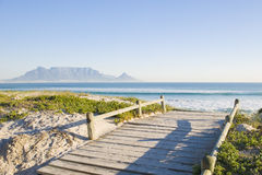 Table mountain Cape Town. Table Mountain - the world famous landmark in Cape Town, South Africa. Picture taken on a clear Winters day from the Blouberg Strand Stock Photography