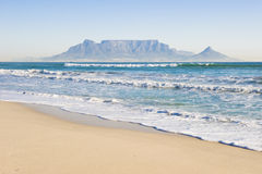 Table mountain Cape Town. Table Mountain - the world famous landmark in Cape Town, South Africa. Picture taken on a clear Winters day from the Blouberg Strand Stock Photo
