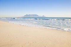 Table mountain Cape Town. Table Mountain - the world famous landmark in Cape Town, South Africa. Picture taken on a clear Winters day from the Blouberg Strand Royalty Free Stock Image