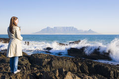 Table mountain Cape Town. Table Mountain - the world famous landmark in Cape Town, South Africa. Picture taken on a clear Winters day from the Blouberg Strand royalty free stock photos
