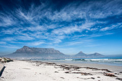 Table mountain. From the Cape Town beach Stock Images