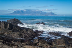 Table Mountain,Cape Town, South Africa,Africa. (Khoikhoi: Hoerikwaggo, Afrikaans: Tafelberg) is a flat-topped mountain forming a prominent landmark overlooking Stock Images