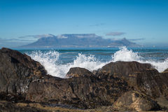 Table Mountain,Cape Town, South Africa,Africa. (Khoikhoi: Hoerikwaggo, Afrikaans: Tafelberg) is a flat-topped mountain forming a prominent landmark overlooking Stock Image
