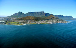 Table mountain, cape town, south africa. View across the ocean to cape town, south africa stock photo