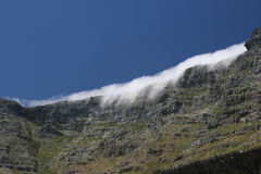 Table Mountain, Capetown S.A. A view of table mountain in Capetown, South Africa,with a tablecloth covering of cloud Stock Photos
