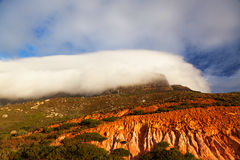Table Mountain in clouds Royalty Free Stock Photography