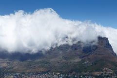 Table Mountain Covered in Clouds Royalty Free Stock Photos