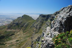 Table Mountain and Devil's Peak from upper cableway station. Cape Town, Western Cape, South Africa Stock Image
