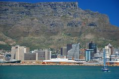 Table mountain and downtown. Cape Town. Western Cape, South Africa Royalty Free Stock Photos