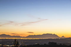 Table Mountain evening. Landscape with Table Mountain in the distance Stock Photography
