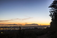 Table Mountain evening. Landscape with Table Mountain in the distance Stock Images