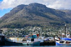 Table Mountain and Fishing Boats, Hout Bay, South Africa royalty free stock photography