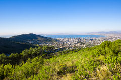 Table mountain. Green grassy rocky hill, table mountain, south africa Royalty Free Stock Photo
